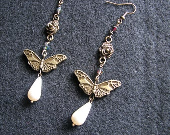Moth earrings | statement | pearl drop | animals | rose | flower | nature inspired