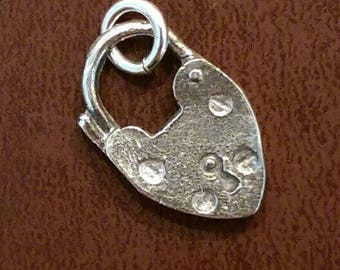 Sterling silver heart padlock charm necklace pendant or earrings vintage style jewelry