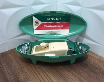 Vintage Singer Buttonholer with manual