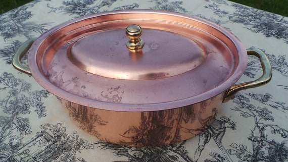 Lecellier Copper Casserole Faitout Oval Pot French Copper Casserole Lid 1.7mm 24cm 9 1/2 Inch Good Condition Special Casserole Pan Great Tin