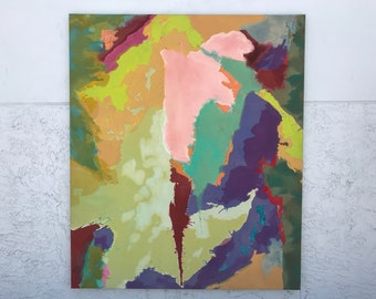 Mid-Century Modern Signed Abstract Painting by David Milne.