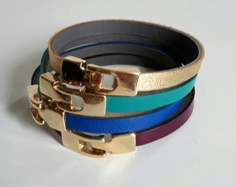 3 different bracelets doubled leather color Golden clasp