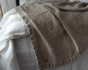 LINEN BLANKET. Rustic linen bed throw, bedspread. RAW washed & softened flax. Made by MOOshop.*12