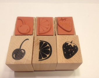 3 piece fruit rubber stamp mix, 18-20 mm (BB4/1)