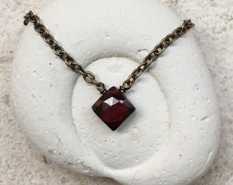 Garnet Necklace, Root Chakra Gemstone Necklace, Healing Crystal Necklace