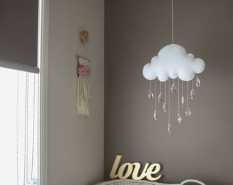 Felt Baby Mobile, Wall Hanging, Window Hanging, Cloud and Crystal Raindrops, Rainbow Maker, Sun Catcher, 2-3 Week Sewing/Turnaround Time