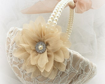 Flower Girl Basket Large in Champagne and Ivory, Lace Wedding Basket with Pearl Handle Vintage Style