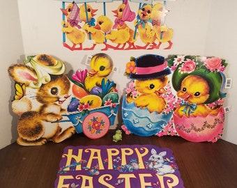 Vintage Easter Die Cuts // Set of 4 // Arrington Design // Spring Decor // Easter Bunny // Holiday Banner // Easter Decor