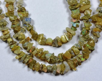"""8"""" Strand-5-7mm-Beautiful-Rare Multi Fire Play Ethiopian Welo Opal Beads-Untreated Natural(3338)"""