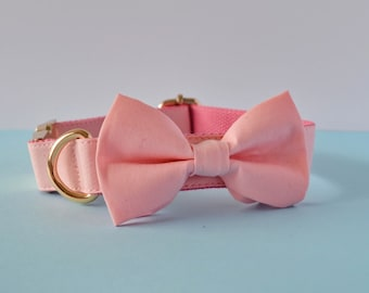 Luxe Dog Collar - Light Pink | Bow Tie Dog Collar | Rose Gold Dog Collar | Gold Dog Collar | Dog Accessory | Dog Lovers Gift |