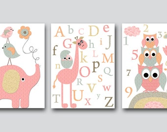 Canvas Decor Kids Wall Art Owls Nursery Alphabet Giraffe Nursery Alphabet Elephant Nursery Baby Nursery Print set of 3 Pink Gray Beige /