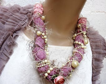 Necklace - long baroque pearls and purple fabric
