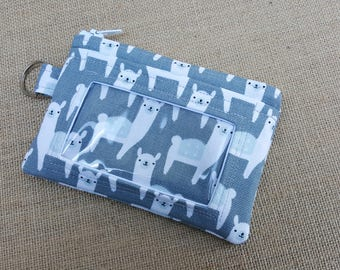 ID Wallet / Keychain Wallet / ID Holder in a Fun Alpaca Print