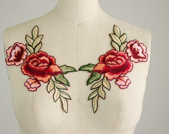 NEW ITEM! One Pair Red Rose Vine Iron On Patch Applique  / Floral Embroidered Patch / Gucci Style / Jeans / No Sew / Vintage