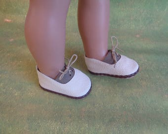 "Brown and Ecru Oxfords-Doll Shoes Fits 18"" American Girl and Boy Dolls-Logans Doll Shoes"