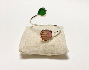 Sunrise Shell Cuff, Sunrise Shell Bracelet, Sterling Silver Cuff Bracelet, Sunrise Shell Jewelry, Sea Glass Cuff, Sea Glass, Sunrise Shell