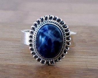 Sodalite Bohemian Silver Ring + Free Gift Box, Bag & Gift