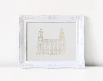 Manti Temple - Hand Drawn - REAL FOIL - Gold Foil Print - LDS - Illustration - Utah - Mormon - Home Decor - Temple - Manti