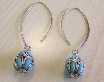 Sterling Silver and Faux Turquoise Dangle Earrings