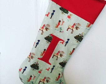Traditional, Christmas stockings, Belle & Boo fabric - appliqué personalisation. Generous size.