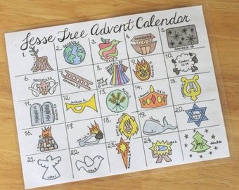 Printable Jesse Tree Advent Calendar for Christmas