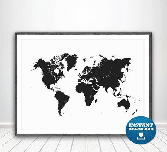 World map print world map poster black and white map black gumiabroncs Image collections