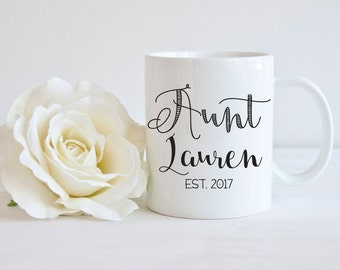 Pregnancy Announcement Aunt, Baby Reveal Coffee Mug, Personalized Aunt Mug, New Aunt Gift, Gift for Aunt, Baby Announcement Mug
