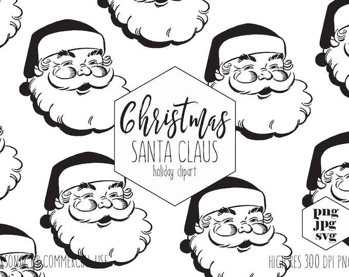 CHRISTMAS SANTA Clipart for Commercial Use Santa Claus SVG Clip Art Vintage Santa Clause Face Cut Out Fun Holiday Digital Vector Graphics