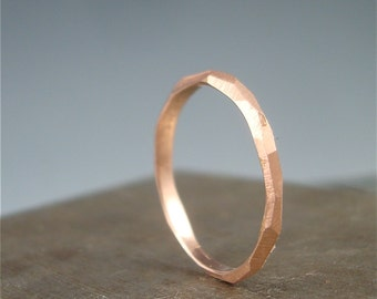Thin Rose Gold Chiseled Ring - 2mm wide