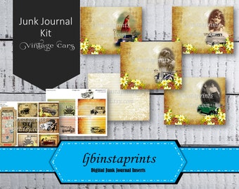 Vintage Car Junk Journal Kit, DIY Junk Journal Kit, Vintage Junk Journal Kit, Instant Download