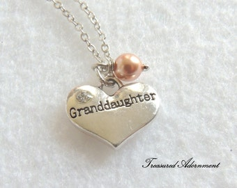READY TO SHIP, Granddaughter Necklace, Heart Necklace with Swarovski Pearl, Silver tone,  Rose Gold Pearl, Granddaughter Birthday  gift