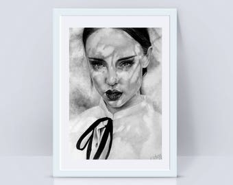 Handmade picture with pencil woman - KatarzynaFiebiger