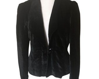 Vintage Black Velvet Formal Jacket with Lapel and Fully Lined Self Cover Buttons at Waist