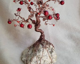 Handcrafted wire bonsai tree of life