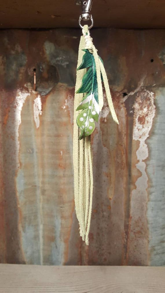 Green Feather Key Chain