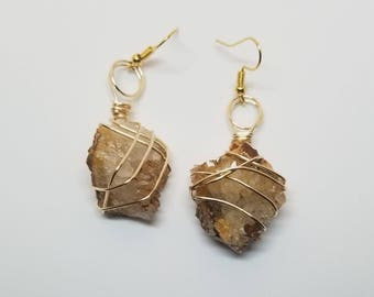 Wire Wrapped Quartz Earrings