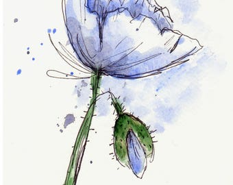 Poppy Flower  Original Watercolor Art Painting Pen and Ink Water Color Art Hand Painted Blue Poppy Flower