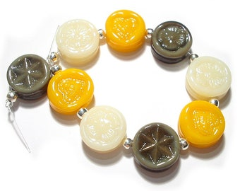 SRA Handmade Glass Lampwork Beads, Neutral Colors Tones Tabs