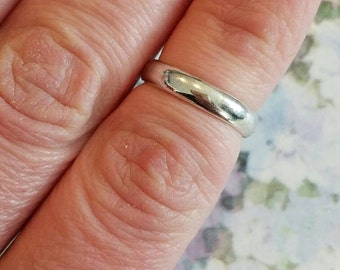 Vintage Sterling Silver 925 Band Ring 1980s Wedding Band 6.25