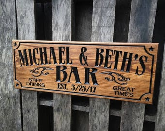 Personalized bar sign - Pub sign - Man Cave sign - Business signage - Christmas Gift for him - Wedding gift
