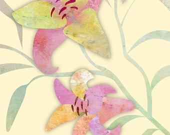 Modern Flower Art, Contemporary Print, LILYS #1 YELLOW, Abstract Lily Print, Girls Room Art, Minimalist Artwork, Yellow Print