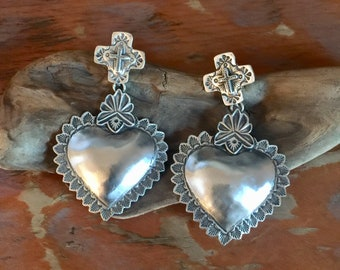 EBH2 Galisteo Cross over The Santa Fe Heart repousse sterling silver southwestern native style earrings