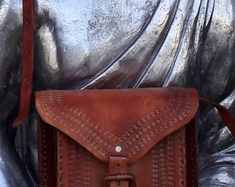 Leather Burgandy Cross Stitched Cross body Messenger Bag