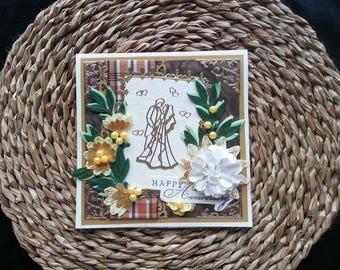 Couple Happy Anniversary Handmade Card celebrate green & brown