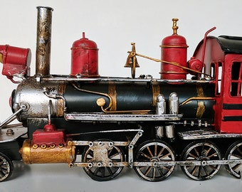 Vintage antique like tin toy train engine Lionel MTH K-Line o-scale HO-scale track RXR rail road man cave garage gas and oil transportation