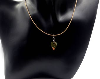 Necklace with Unakite leaf