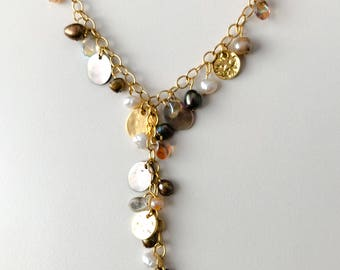 Freshwater Pearl and Czech glass bead necklace on gold chain