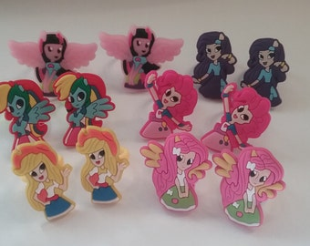 CLEARANCE 12 Pieces Equestria Girls Rings Party Favor Cupcake Toppers