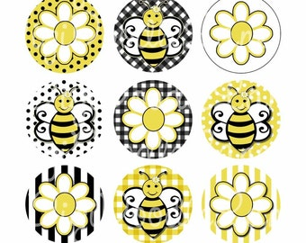 Bees and Flowers Bottlecap Images Bees Bottle Cap Images Flower Bottlecap Images For Hairbows Jewelry Magnets and More INSTANT DOWNLOAD