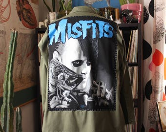 "oversized Misfits army jacket, upcycled vintage giant back patch . patched army surplus jacket coat unisex plus size, 52"" chest"